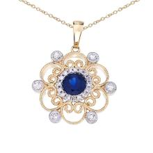 Certified 14k Two-Tone Sapphire and Diamond Filigree Pendant 0.48 CTW #PAPPS25306