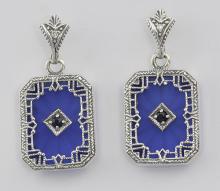 Filigree Blue Crystal / Sapphire Art Deco Earrings - Sterling Silver #PAPPS98055