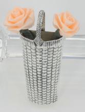 Basket Vase Pin - Sterling Silver - Basket Weave Design #PAPPS97893