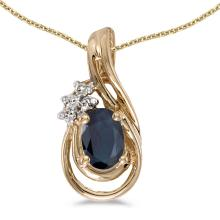 Certified 14k Yellow Gold Oval Sapphire And Diamond Teardrop Pendant 0.43 CTW #PAPPS24969