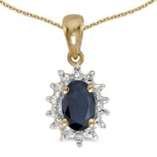 Certified 10k Yellow Gold Oval Sapphire And Diamond Pendant 0.41 CTW #PAPPS25353