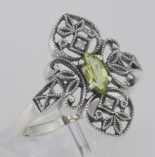 Victorian Style Peridot Filigree Ring with Two Diamonds - Sterling Silver #PAPPS98522