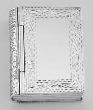 Antique Style Etched Border Design Sterling Silver Book Pillbox #PAPPS98491