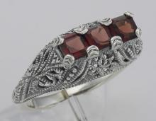 Art Deco Style Sterling Silver Filigree Ring 3 Princess Cut Garnet Gemstones #PAPPS98501