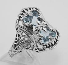 Art Deco Style Blue Topaz Ring with Flower Design - Sterling Silver #PAPPS98239