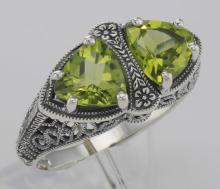 Unique Art Deco Style Peridot Filigree Ring - Sterling Silver #PAPPS98504