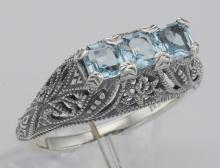 Art Deco Style Sterling Silver Filigree Ring 3 Princess Cut Blue Topaz Gemstones #PAPPS98500