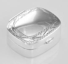 Small Sterling Silver Rectangle Pillbox w/ Engraved Border Design #PAPPS98493