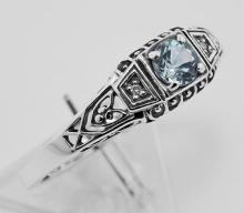 Antique Style Sterling Silver Blue Topaz / Diamond Filigree Ring #PAPPS98206