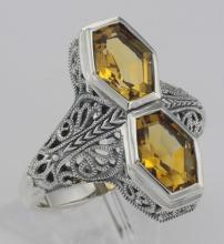 Art Deco Style Genuine 2 Carat Citrine Filigree Ring - Sterling Silver #PAPPS98509