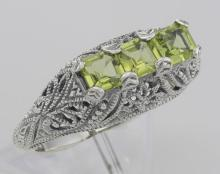 Art Deco Style Sterling Silver Filigree Ring 3 Princess Cut Peridot Gemstones #PAPPS98503