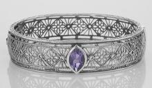 Victorian Style Filigree Amethyst Bangle Bracelet In Fine Sterling Silver #PAPPS98426