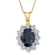 Blue Sapphire and Diamond Accented Pendant 14k Yellow Gold (1.70ctw) #PAPPS21174
