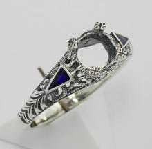Semi Mount Art Deco Style Ring Enamel Accents - Sterling Silver #PAPPS98345