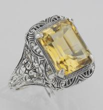 Art Deco Style Genuine Golden Citrine Filigree Ring - Sterling Silver #PAPPS98415