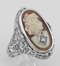 Cameo / Onyx w/ Diamonds Filigree Flip Ring - Sterling #PAPPS98244