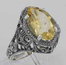 Beautiful 3 Carat Victorian Style Genuine Citrine Filigree Ring Sterling Silver #PAPPS98506