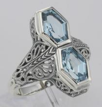 Unique Art Deco Style 2 Carat Blue Topaz Filigree Ring - Sterling Silver #PAPPS98510