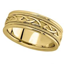 Hand Made Celtic Wedding Band in 14k Yellow Gold (6mm) #PAPPS20946