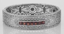 Art Deco Style Filigree Bangle Bracelet Garnet / Diamond Sterling Silver #PAPPS98427