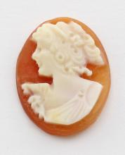16 mm x 12 mm Oval Hand Carved Italian Shell Cameo - Loose - Unmounted #PAPPS98396