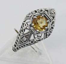Art Deco Style Citrine Filigree Ring w/ 4 Diamonds - Sterling Silver #PAPPS98406