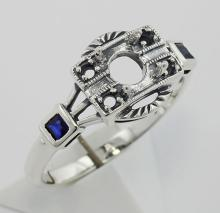 Semi Mount Sapphire Filigree Ring - Art Deco Style Sterling Silver #PAPPS98338