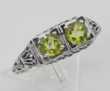 Art Deco Style Green Peridot Gemstone Ring Sterling Silver #PAPPS98379