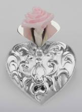 Victorian Style Repousse Heart Vase Pin - Sterling Silver #PAPPS97892