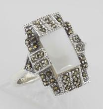 Vintage Style Mother of Pearl and Marcasite Ring - Sterling Silver #PAPPS97812