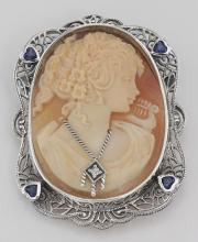 Victorian Style Hand Carved Italian Shell Cameo Diamond Pin or Pendant #PAPPS97847