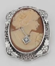 Victorian Floral Style Cameo Pin or Pendant with Diamond - Sterling Silver #PAPPS97843