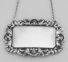 Sterling Silver Blank Engravable Liquor Decanter Label / Tag w/ Victorian Border #PAPPS97837