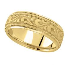 Antique Style Handmade Wedding Band in 18k Yellow Gold (7.5mm) #PAPPS21139