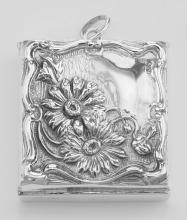 Beautiful Victorian Floral Design Stamp Box - Sterling Silver Pill Box #PAPPS97887