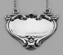 Blank Liquor Decanter Label / Tag Heart Shape Style - Sterling Silver #PAPPS97838