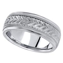 Hand Engraved Wedding Band Carved Ring in Platinum (6.5mm) #PAPPS21346