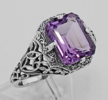 2 1/2 Carat Amethyst Filigree Ring - Sterling Silver #97467v2