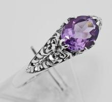 Amethyst Filigree Ring - Sterling Silver #97475v2