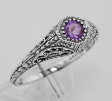 Victorian Style Amethyst Filigree Ring Sterling Silver #97455v2