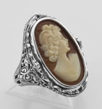 Antique Style Cameo / Onyx Filigree Flip Ring w / Diamond - Sterling Silver #97447v2