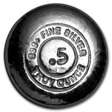 1/2 oz Silver Round - Yeager Poured Silver #74541v3