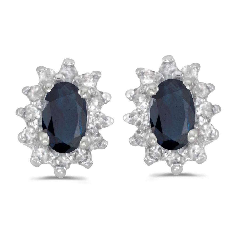 Certified 14k White Gold Oval Sapphire And Diamond Earrings 0.75 CTW #PAPPS27356