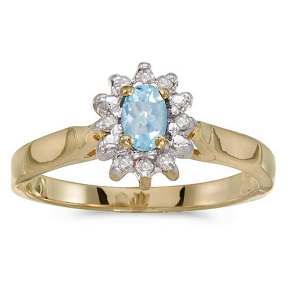 Certified 14k Yellow Gold Oval Aquamarine And Diamond Ring 0.22 CTW #PAPPS50542