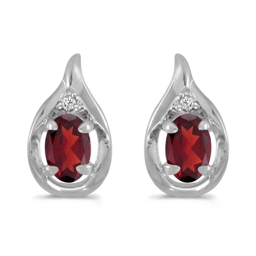 Certified 14k White Gold Oval Garnet And Diamond Earrings 0.96 CTW #PAPPS25039