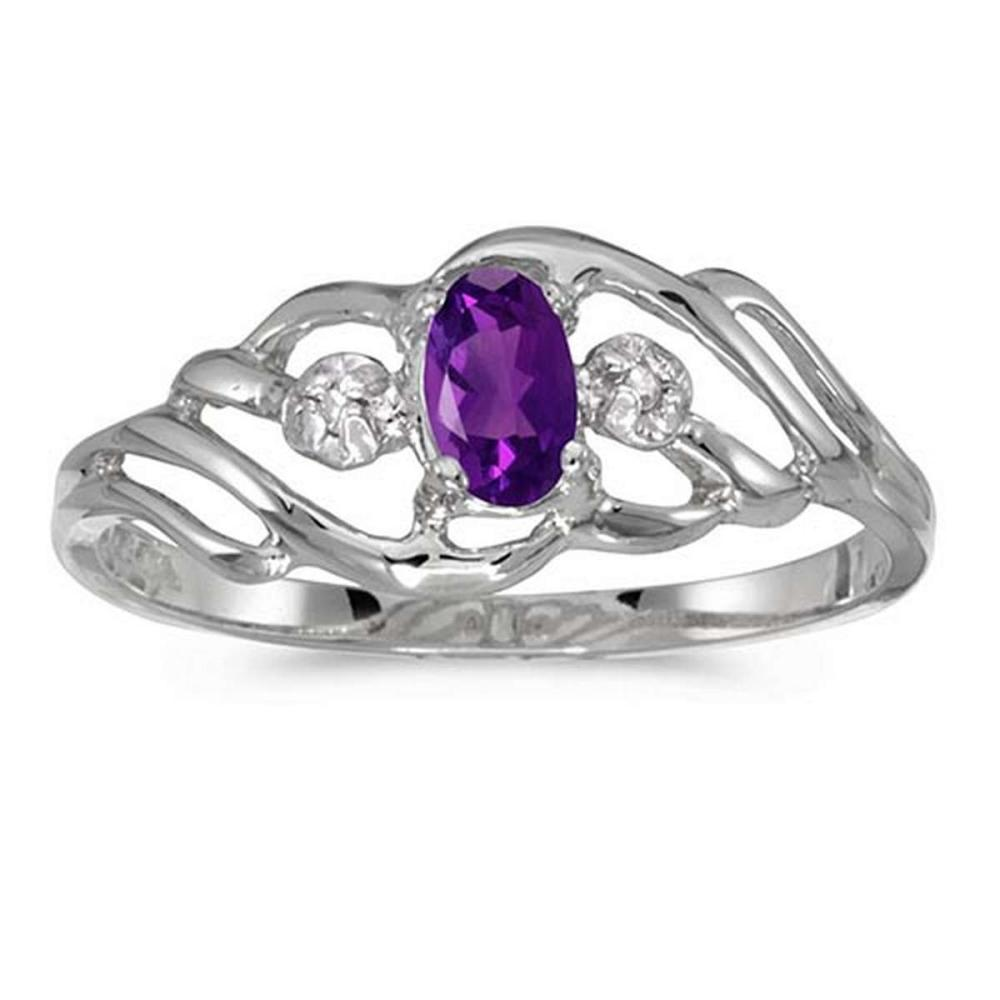 Certified 10k White Gold Oval Amethyst And Diamond Ring 0.19 CTW #PAPPS51195
