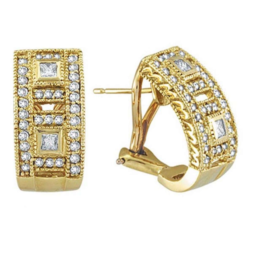 Princess and Round Diamond Huggie Earrings 18K Yellow Gold (1.00ct) #PAPPS51526