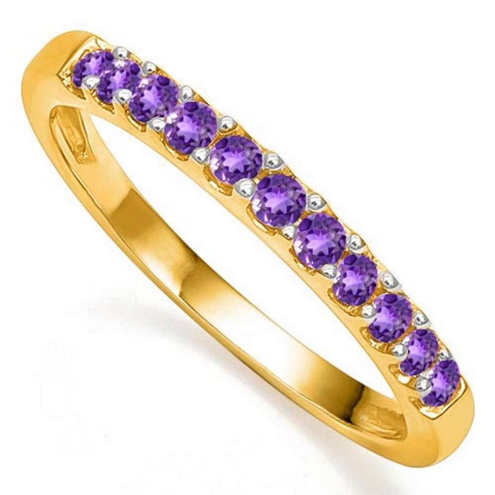 0.41 CTW AMETHYST 10K SOLID YELLOW GOLD BRAND RING #PAPPS56916