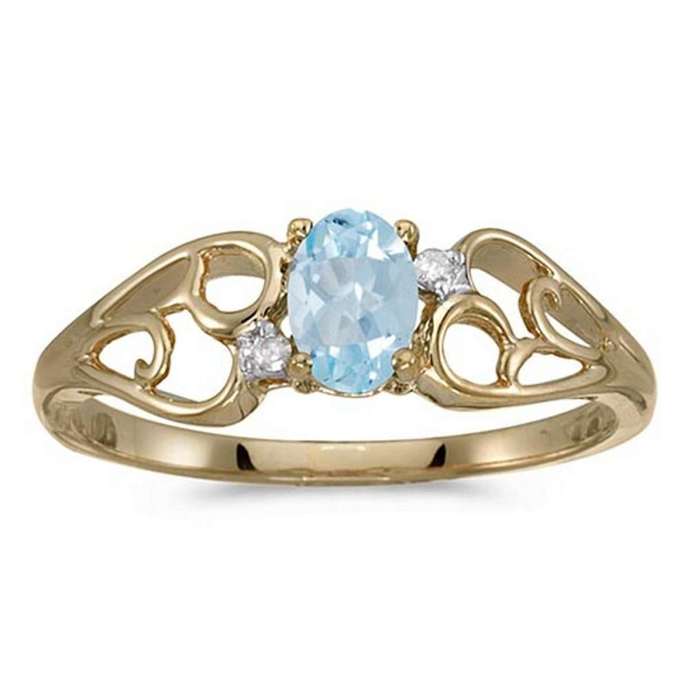 Certified 10k Yellow Gold Oval Aquamarine And Diamond Ring 0.31 CTW #PAPPS50534