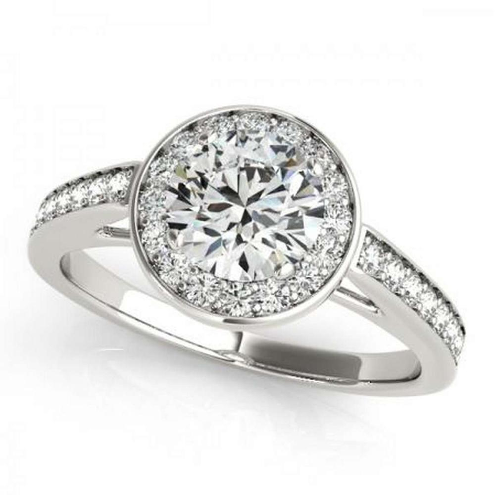 CERTIFIED PLATINUM .87 CTW G-H/VS-SI1 DIAMOND HALO ENGAGEMENT RING #PAPPS86244